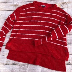 Tommy Hilfiger Red Fuzzy Sweater w/ White Stripes